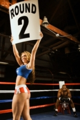 """""""Ring Girl"""" Announcing Start of Round Two"""